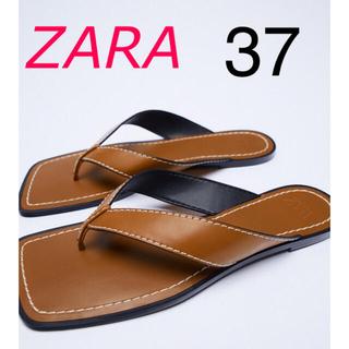 ザラ(ZARA)の新品 ZARA トップステッチ&スクエアトゥフラットサンダル 37(サンダル)