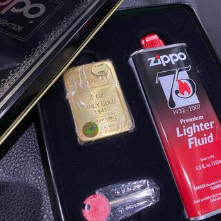 ジッポー(ZIPPO)の【ZIPPO】FANCY GOLD 1941 レプリカ 金張り オイル缶セット(タバコグッズ)