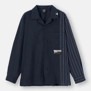 GU - 新品 GU ミハラヤスヒロ オープンカラーシャツ(長袖)MY ネイビー M