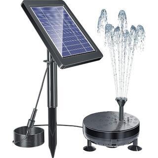 【新品】ソーラー噴水ポンプ LEDライト付き 太陽光充電★当日発送!
