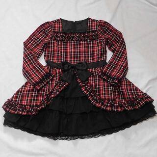 赤チェックと黒のワンピース 130cm 長袖 子供服(ワンピース)