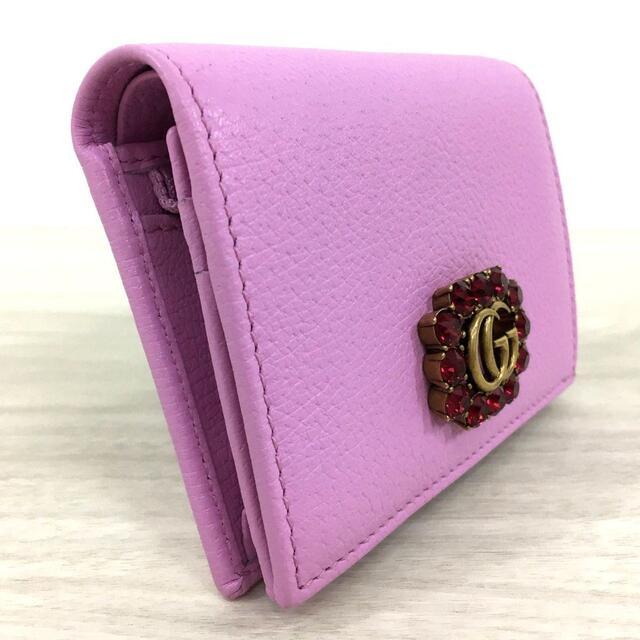 Gucci(グッチ)の未使用品 グッチ コンパクトウォレット レザー クリスタル ピンク 443 レディースのファッション小物(財布)の商品写真