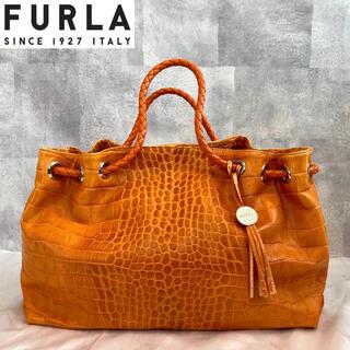 Furla - 【FURLA】フルラ クロコ型押し オレンジ レザー トートバッグ A4収納可能