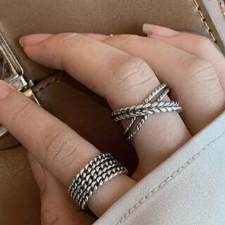 フリークスストア(FREAK'S STORE)のダブル ツイスト ロープ クロス デザインリング 指輪 シルバーリング(リング(指輪))