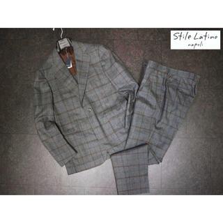 スティレラティーノ 30万新品ウールグレーウインドーペーンセットアップスーツ