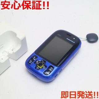 キョウセラ(京セラ)の新品同様 au mamorino3 ブルー 白ロム(携帯電話本体)