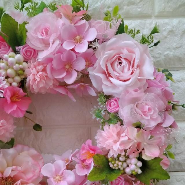 フラワーリース 玄関リース 造花リース ハンドメイドのフラワー/ガーデン(リース)の商品写真