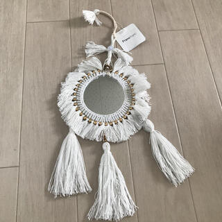 Francfranc - タッセルウォールミラー ドリームキャッチャー フランフラン 鏡 飾り 白色