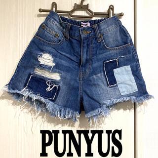 プニュズ(PUNYUS)のPUNYUS パッチワーク デニム ショートパンツ ショーパン ダメージデニム(ショートパンツ)