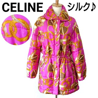 celine - 美品 激レア オールドセリーヌ ダウンコート スカーフ柄 シルク レディース S