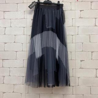 パッチワークデザインおしゃれチュールロングスカート 黒グレー