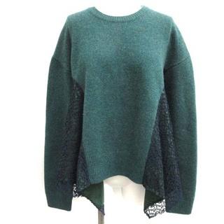 LE CIEL BLEU - ルシェルブルー 36 S Lace Paneled Knit Tops 緑 紺