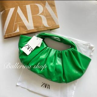 ZARA - 新品タグ付 ZARA レザーバケットハンドバッグ グリーン ザラ 2021SS