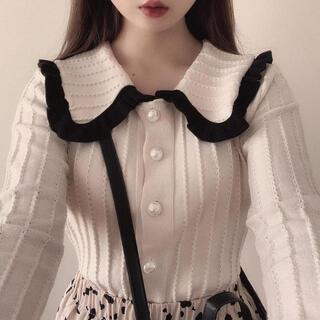 snidel - bi-color frill collar tops