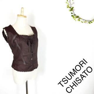 ツモリチサト(TSUMORI CHISATO)のTSUMORI CHISATO ノースリーブブラウス S ブラウン(シャツ/ブラウス(半袖/袖なし))