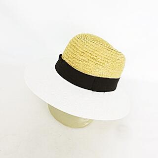 ザラ(ZARA)の中折れハット ブレードハット 帽子 麦わら帽子 つば広 異素材切り替え M 白(麦わら帽子/ストローハット)