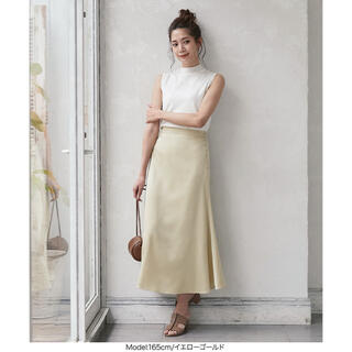 神戸レタス - 【雑誌掲載】サイドボタンマットサテンスカート [M2895] イエローゴールド