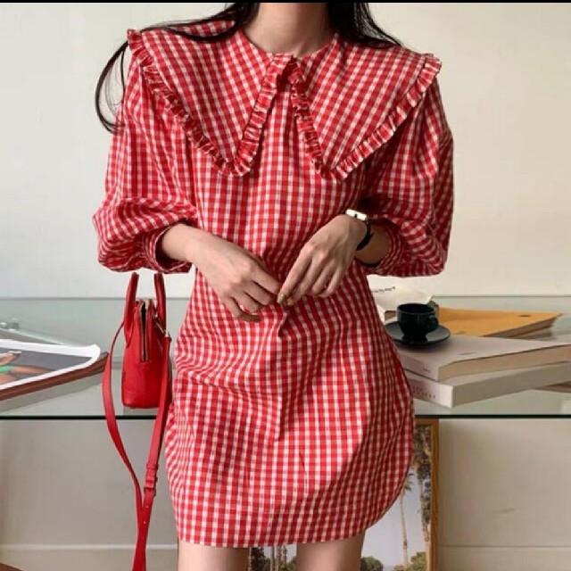 Lochie(ロキエ)のギンガムチェック 大きめ襟 ワンピース 【2color】 レディースのワンピース(ミニワンピース)の商品写真