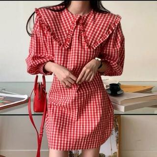 Lochie - ギンガムチェック 大きめ襟 ワンピース 【2color】