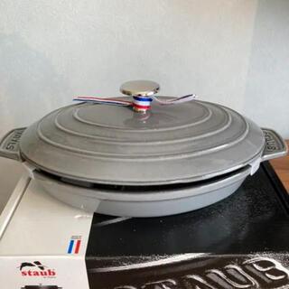 STAUB - ストウブ 鍋 オーバルホットプレート ラウンド 23cm グラファイトグレー
