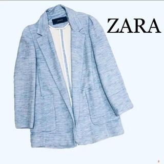 ZARA - ZARA テーラードジャケット ライトブルー ビッグシルエット リネン混 春夏