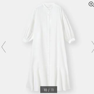 GU - ジーユーバンドカラーシヤツワンピース7分袖 白M