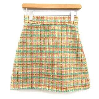 ミュウミュウ(miumiu)のミュウミュウ miumiu スカート ツイード 台形 ミニ 38 S ベージュ(その他)