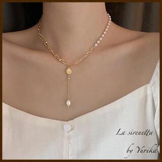 AHKAH - pearl & chain necklace *14k coating