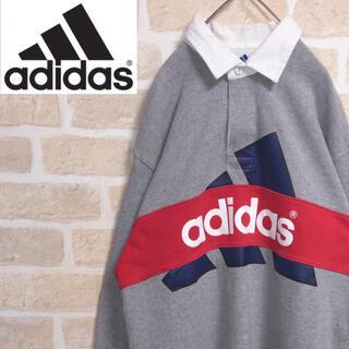 adidas - adidas アディダス トレーナー 襟付き デカロゴ ゆるだぼ 古着 90s
