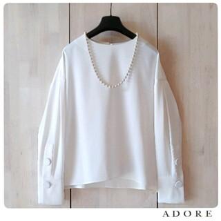 ADORE - ◆幻◆ 春物美品 定価3.2万円 ADORE サテンジョーゼットブラウス