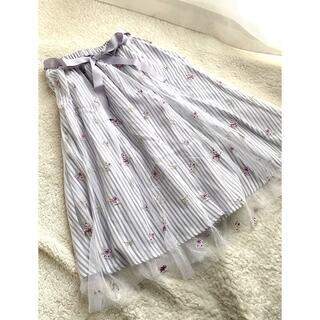 axes femme - 新品タグ付き★アクシーズファム★ストライプチュール刺繍スカート