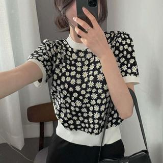 STYLENANDA - 【予約商品】《4カラー》サマーニット 花柄 ラウンドネック 韓国ファッション