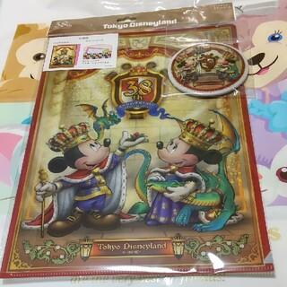 ディズニー(Disney)のディズニー 38周年 クリアホルダー 缶バッジ(クリアファイル)
