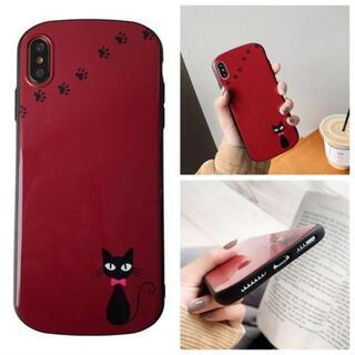 【iphoneXR】 iphoneケース おしゃれ 赤色 猫 ケース