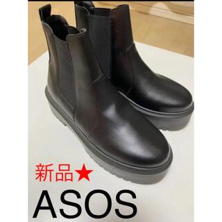 エイソス(asos)の☆新品☆asos サイドゴアブーツ ブラック(ブーツ)