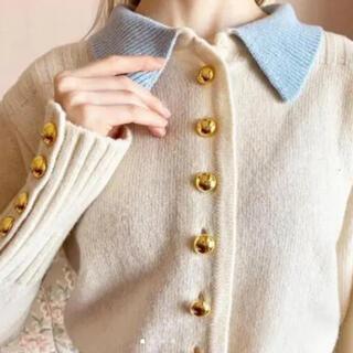 epine gold button knit ivory