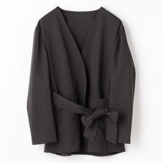 TOMORROWLAND - トゥモローランド ポリエステルリネン ノーカラーベルテッドジャケット