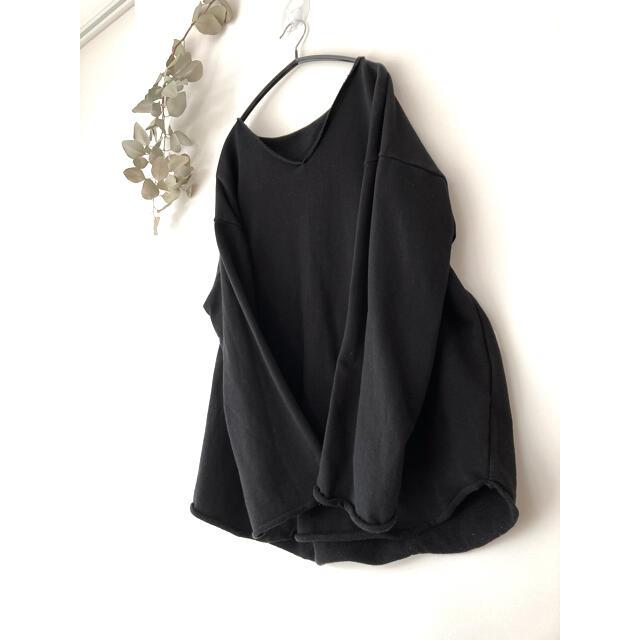 antiqua(アンティカ)のアンティカ  antiqua vネック 長袖 ブラック レディースのトップス(カットソー(長袖/七分))の商品写真