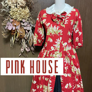PINK HOUSE - ピンクハウス ワンピース 花柄 赤