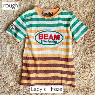 ラフ(rough)のrough フロントワッペン配色ボーダー半袖Tシャツ 緑 オレンジ ラフ(Tシャツ(半袖/袖なし))