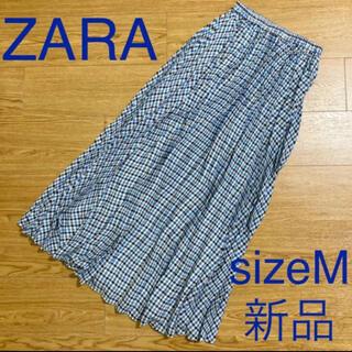 ZARA - ZARA 新品 ブルーチェックロングプリーツスカート sizeM