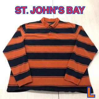 148 USA 古着 ST.JOHN'S BAY 長袖ポロシャツ L(ポロシャツ)