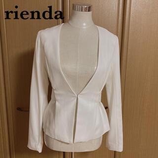 rienda - 【rienda】ノーカラージャケット USED品