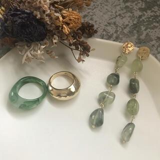 LEPSIM - SALE!green pirce&ring set