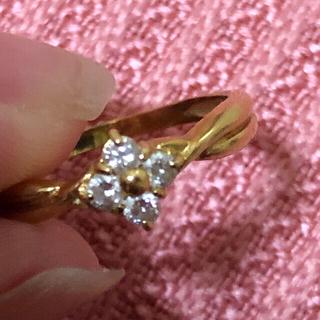 18金 ダイヤ付きリング💓ピンキー  ダイヤが綺麗✨