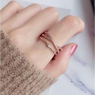 ピンクゴールド シングルクロスリング 指輪 フリーサイズ RIN100