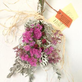 香り立つ無農薬 薔薇とスターチス ホワイトラベンダーリーフスワッグ(ドライフラワー)