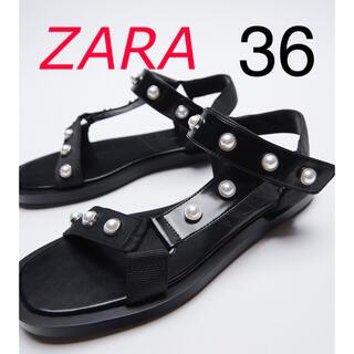 ザラ(ZARA)の新品 ZARA  パールビーズ付きフラットサンダル 36 ブラック(サンダル)