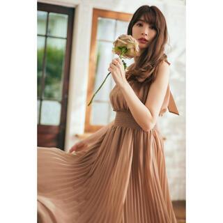 snidel - Pleated Chiffon Ribbon Midi Dress Mサイズ
