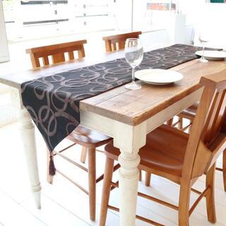 テーブルランナー タッセル付き(180×33cm, ブラウン サークル模様)(ローテーブル)